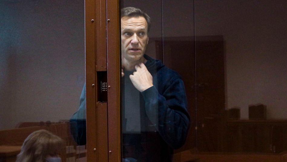 Kremlkritiker Nawalny vor Gericht bei einer Anhörung in Moskau im Februar