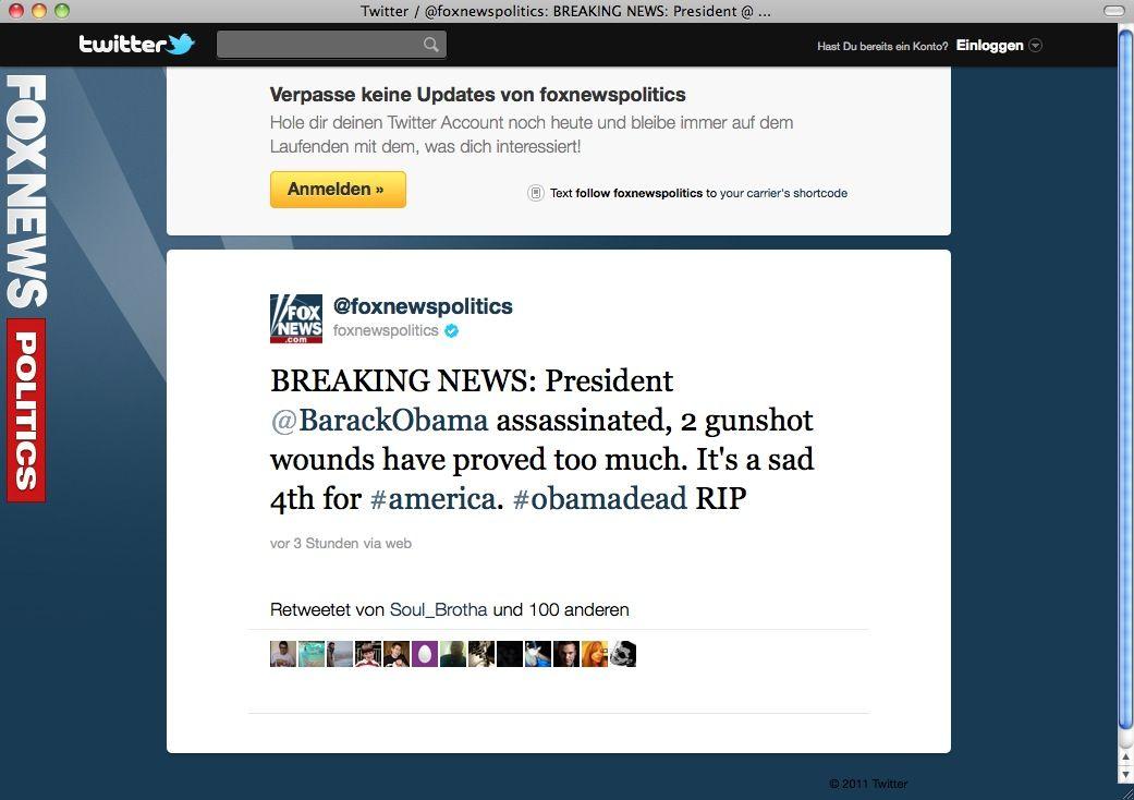 SCREENSHOT Twitter / Obama assassinated / NETZWELT
