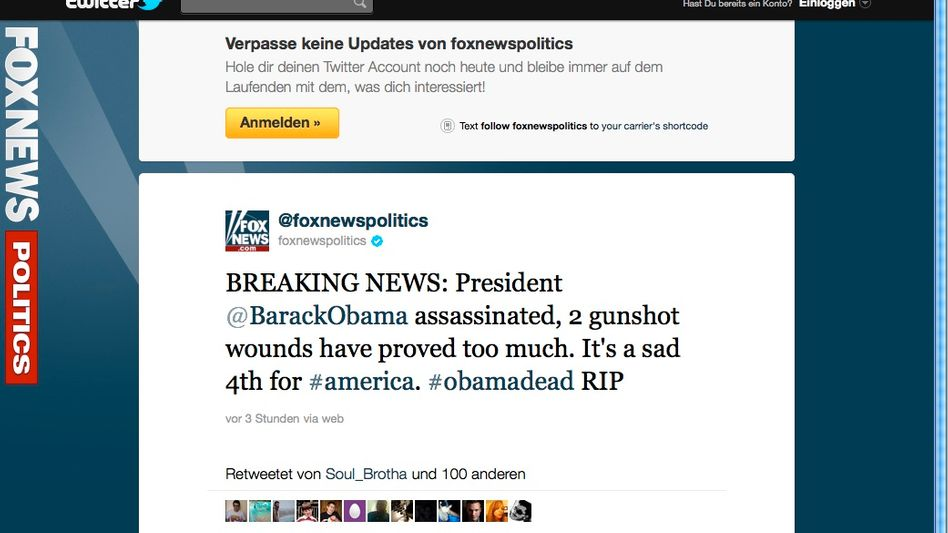 Falschmeldung: Twitter-Posting zum angeblichen Präsidentenmord