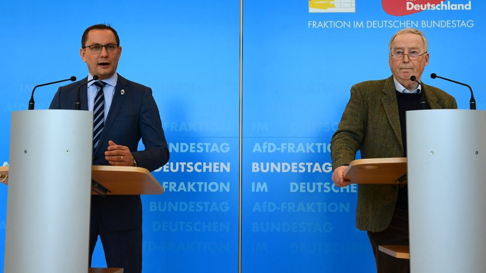 AfD-Politiker Chrupalla, Gauland am 3. März im Bundestag