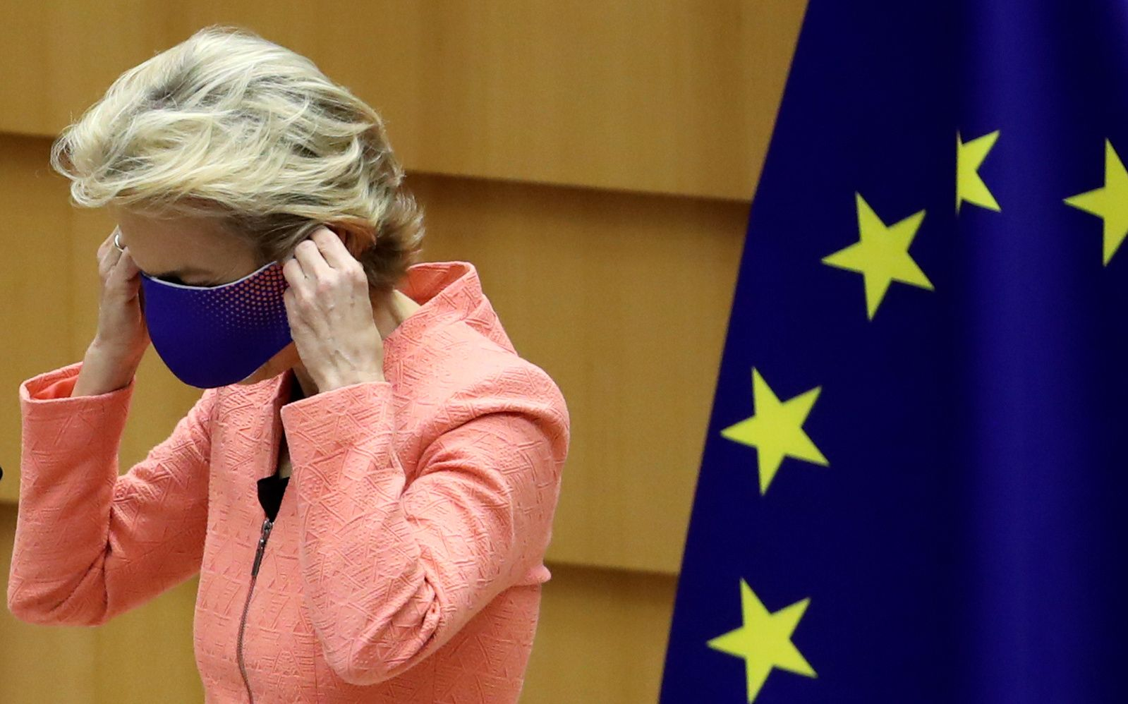 European Commission President Ursula von der Leyen wears a face mask after her first State of the European Union speech during a plenary session of the European Parliament, in Brussels