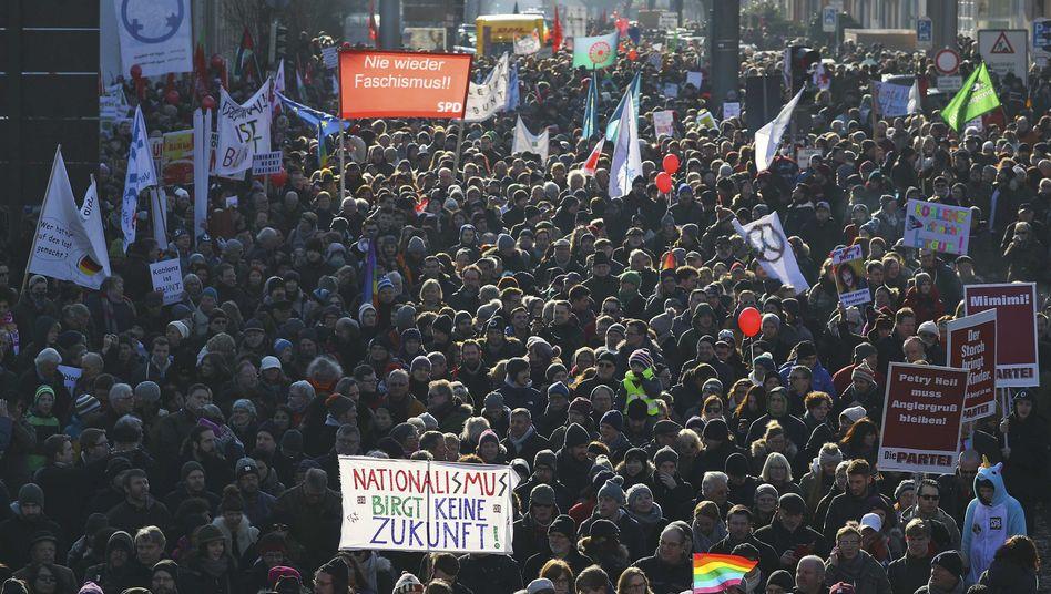 Demonstrationszug in Koblenz