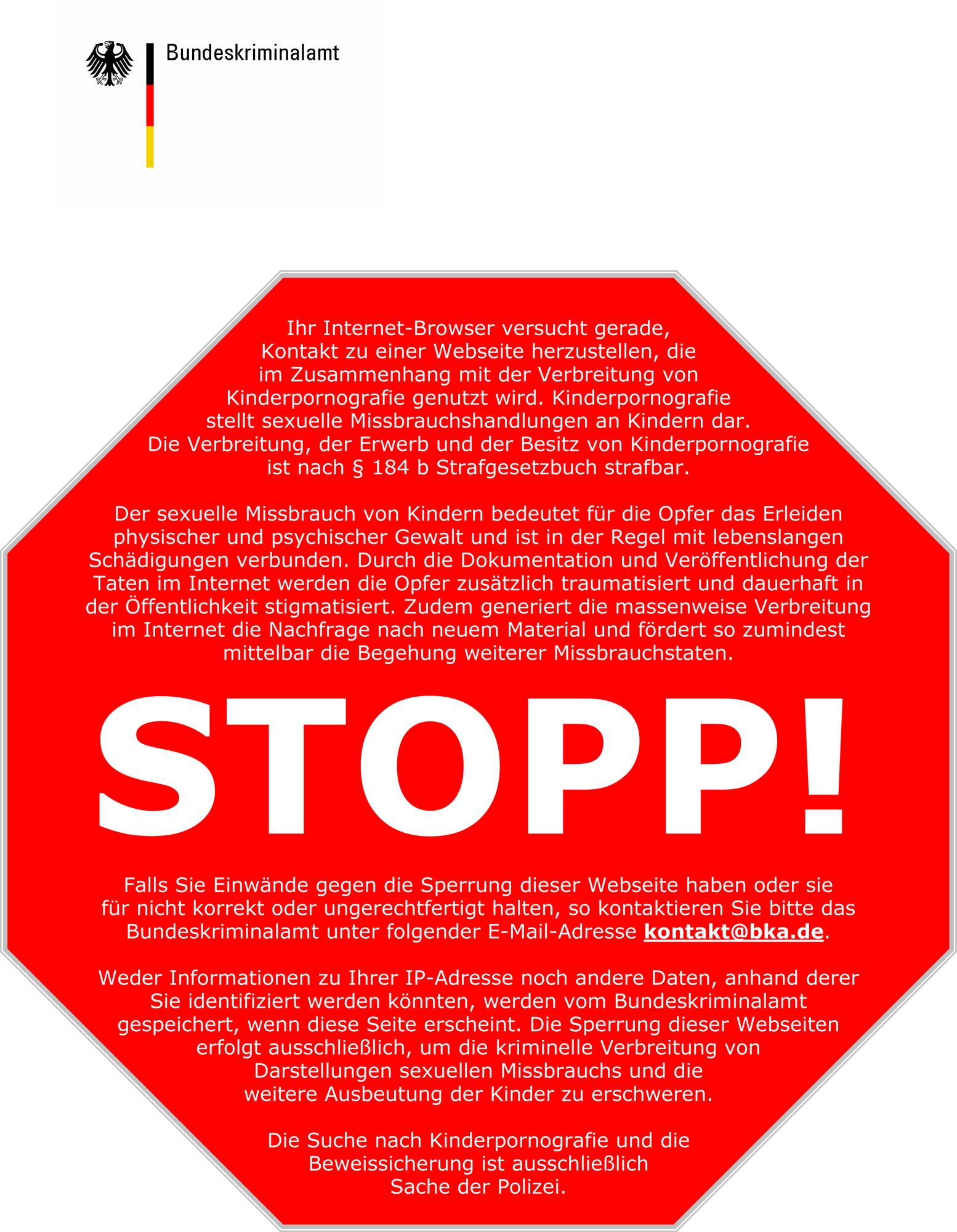 EINMALIGE VERWENDUNG Stoppseite Internetpornografie