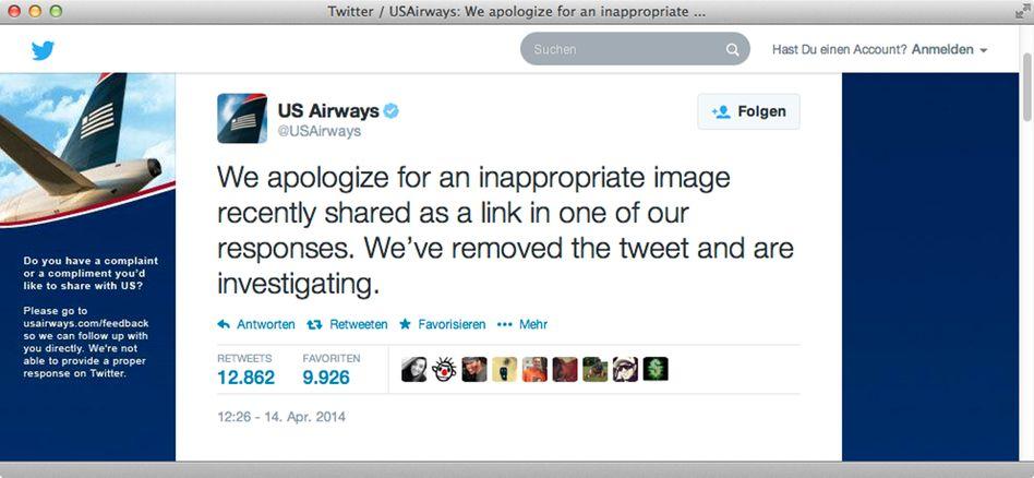 Entschuldigung von US-Airways: Die Fluggesellschaft verbreitete ein obszönes Bild auf Twitter