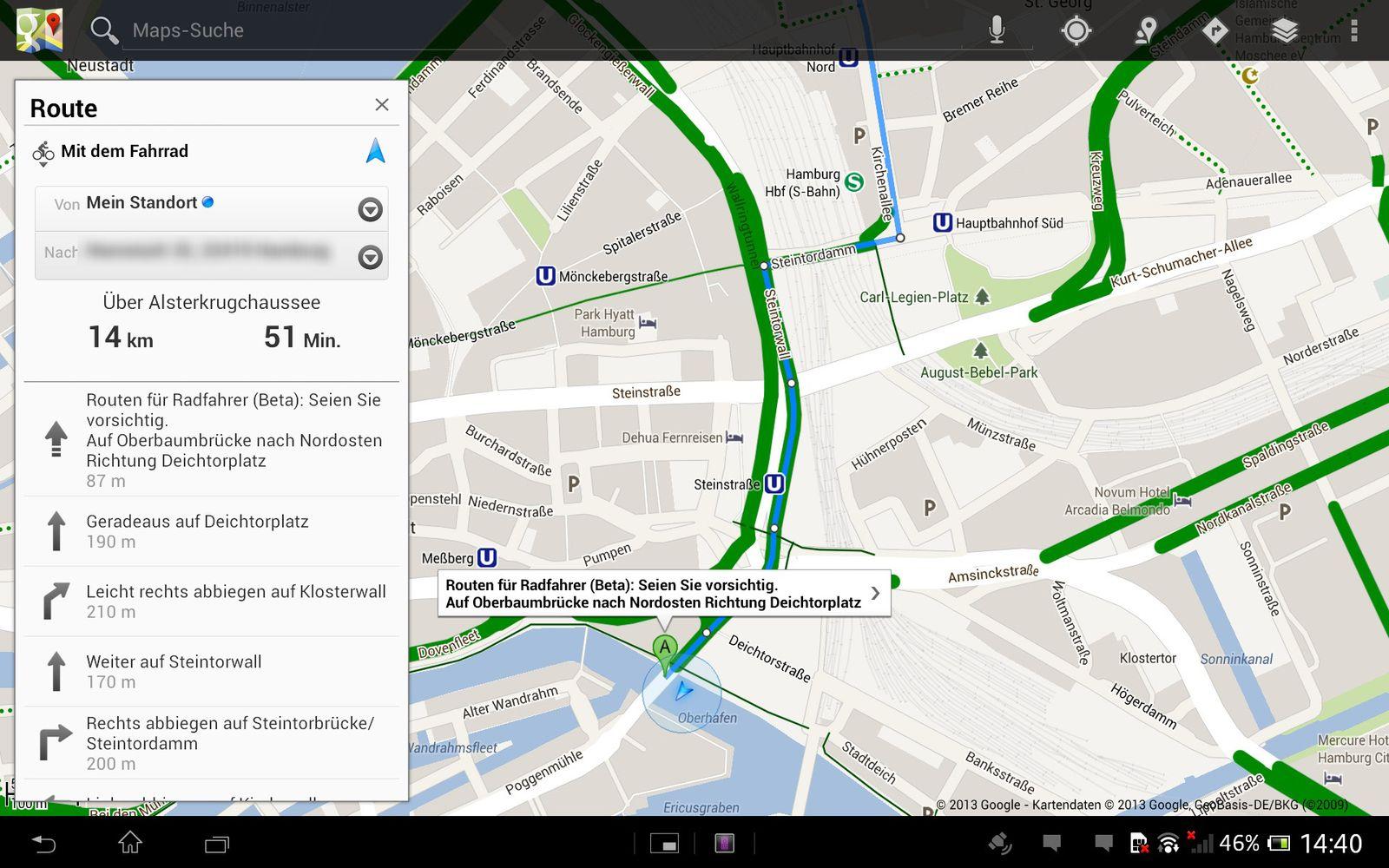 EINMALIGE VERWENDUNG SCREENSHOT / NUR ALS ZITAT / Google Maps Fahrrad