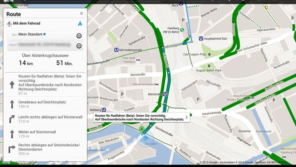 Hamburger Innenstadt: Google Maps (Screenshot) findet nun auch Radrouten