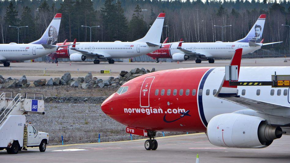 Norwegian-Maschine in Stockholm (Archiv): Fluggesellschaft hat bereits drei Milliarden Kronen erhalten