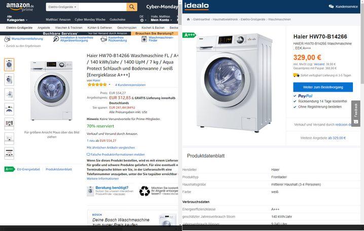 Cyber-Monday-Angebot (links) und Vergleichspreis