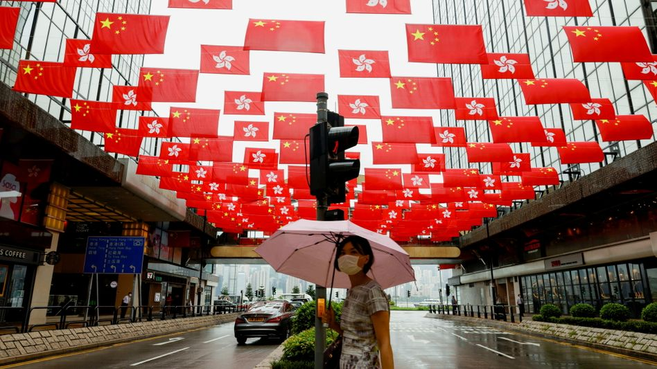 Festschmuck zum hundertjährigen Jubiläum der Kommunistischen Partei Chinas in Hongkong