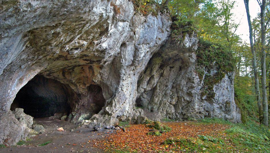 Eingang zur Hohlenstein-Stadel Höhle im Lonetal, Baden-Württemberg
