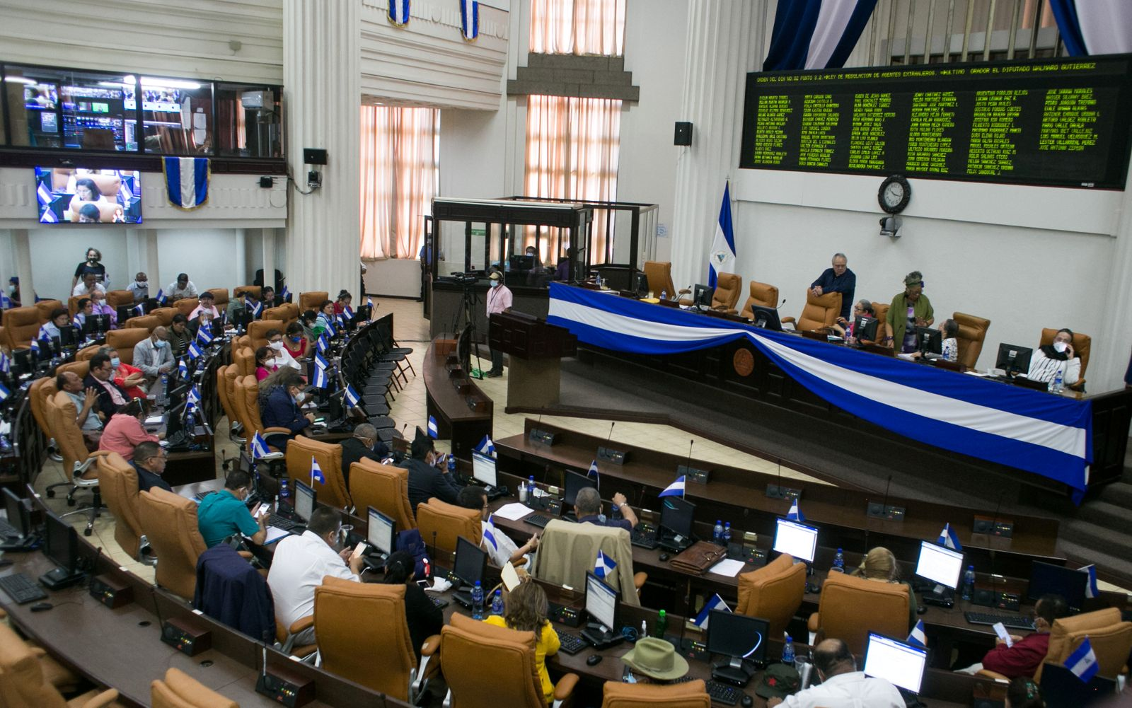 Parliamentary session on the approval of the Law for the Regulation of Foreign Agents, in Managua