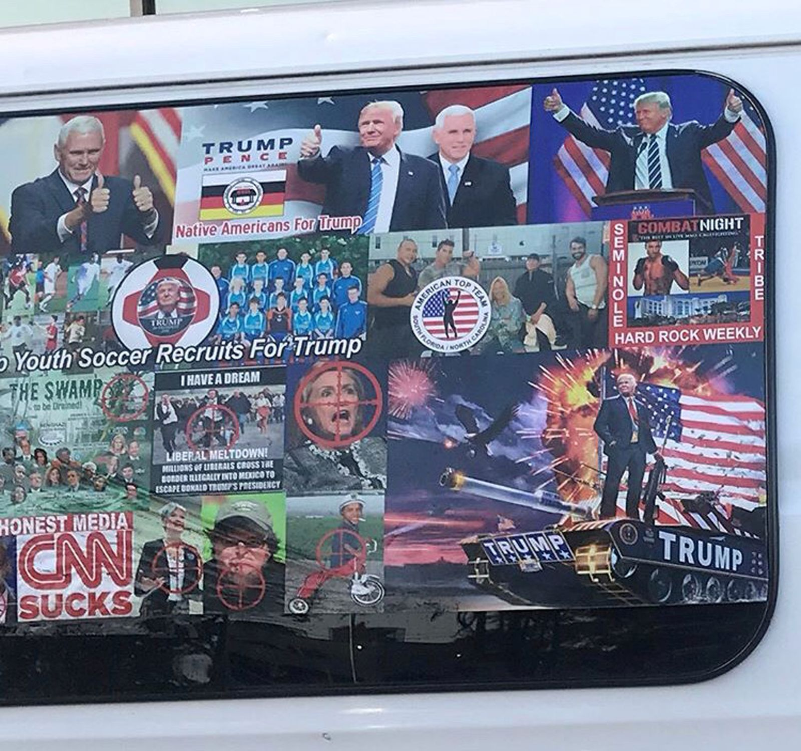 A van with windows covered in pro-Trump and anti-Democrat stickers is shown in this photo taken in Hollywood, Florida