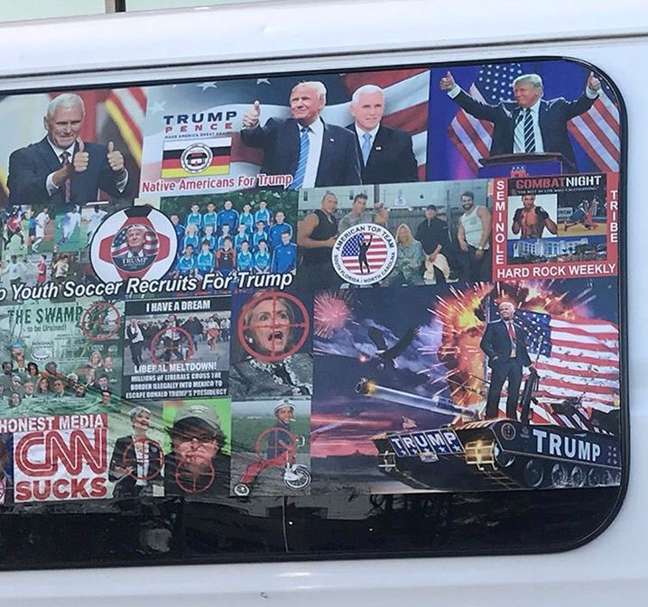 A van with windows covered in pro-Trump and anti-Democrat stickers, which was apprehended on October 26, 2018 during an investigation into a series of parcel bombs, is seen in Hollywood, Florida, U.S., April 6, 2018. Picture taken April 6, 2018. REUTERS/Geo Rodriguez - RC1DFCADE4E0