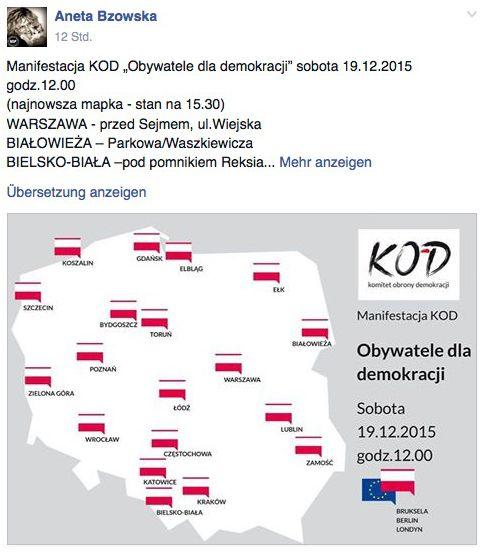 Demonstrations-Städte: Facebook-Aufruf zu Protesten in Polen