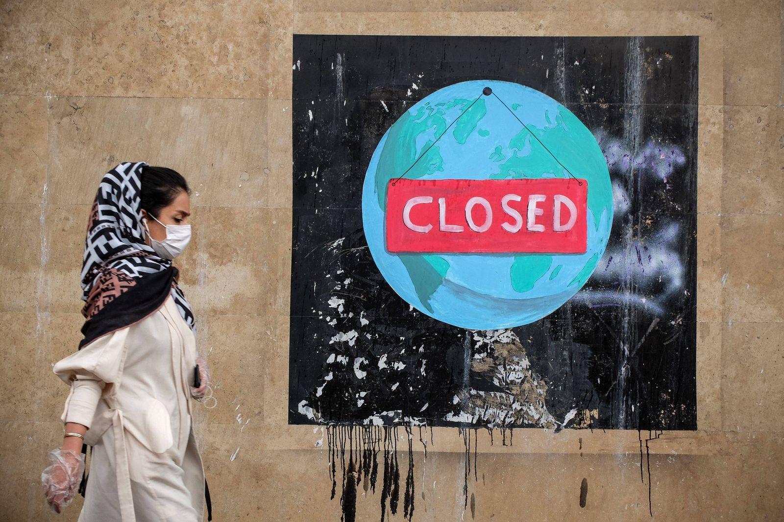 April 30, 2020, Tehran, Iran: A graffiti is seen in downtown Tehran, following the new coronavirus disease (COVID-19) o
