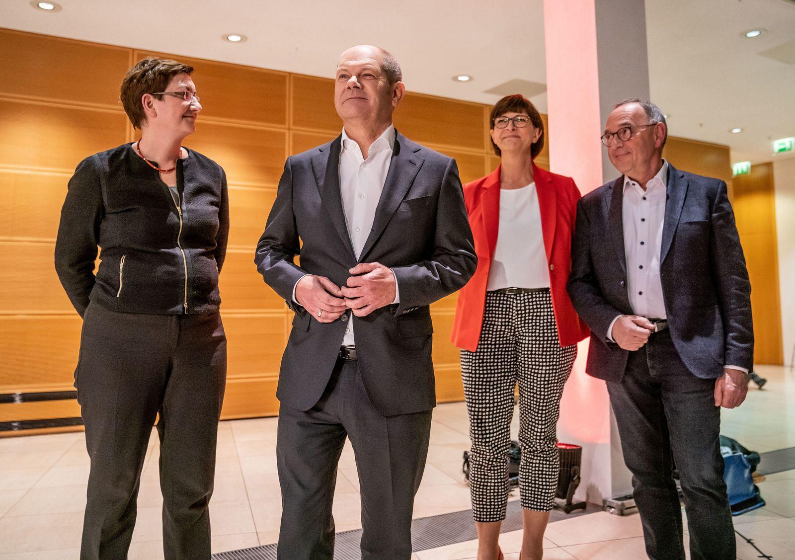 Olaf Scholz/ Klara Geywitz/ Norbert Walter-Borjans/ Saskia Esken