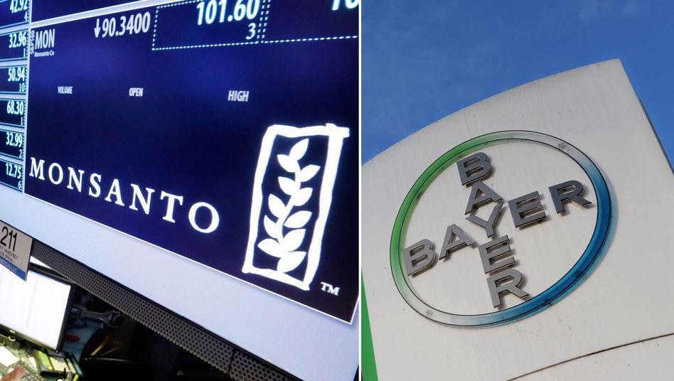 Logos von Monsanto und Bayer