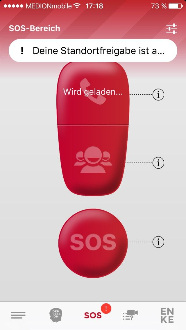 Der SOS-Knopf in der App. Screenshot/ EnkeApp