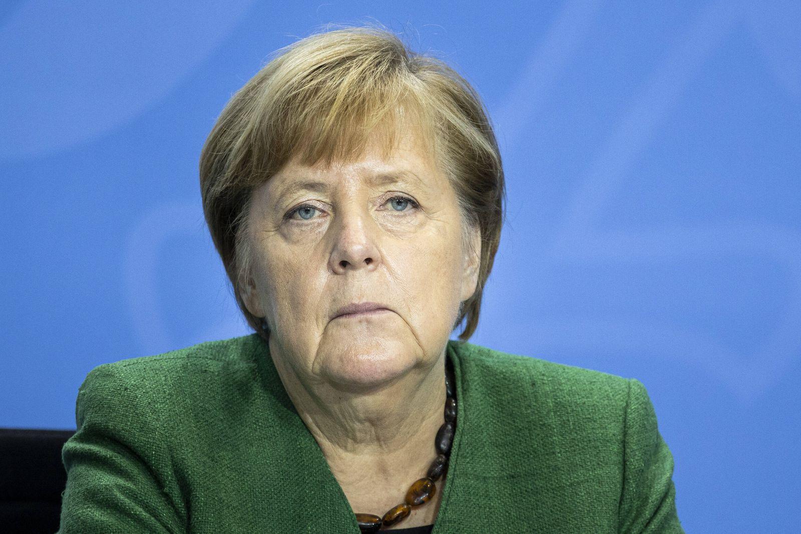 Angela Merkel, Bundeskanzlerin, aufgenommen im Rahmen einer Pressekonferenz zum 12. Integrationsgipfel in Berlin, 19.10