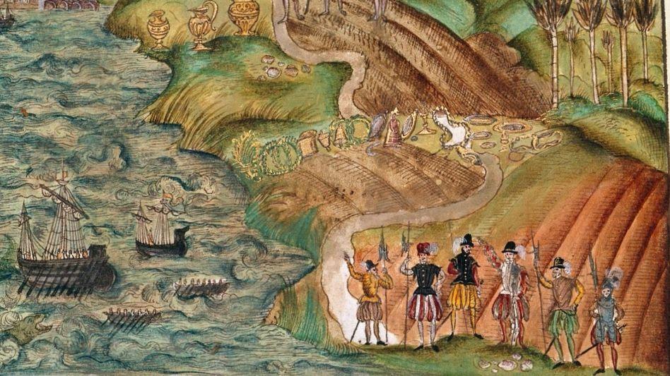 Deutsche Konquistadoren: Der Nürnberger Bürger Hieronymus Köler (1507 bis 1573) wollte eigentlich selbst nach Venezuela reisen, berichtete dann aber nur aus zweiter Hand über die Welser-Kolonie und illustrierte den Bericht mit farbigen Bildern wie diesem.