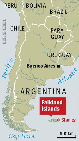 The ownership of the Falkland Islands, a British dependency in the southern Atlantic, has long been disputed by Argentina.
