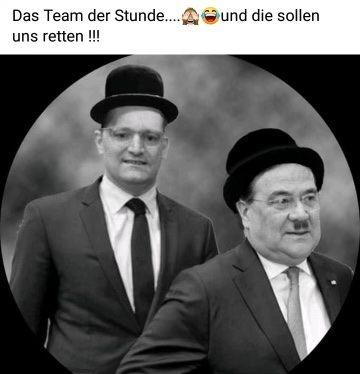 Jens Spahn und Armin Laschet als Laurel und Hardy