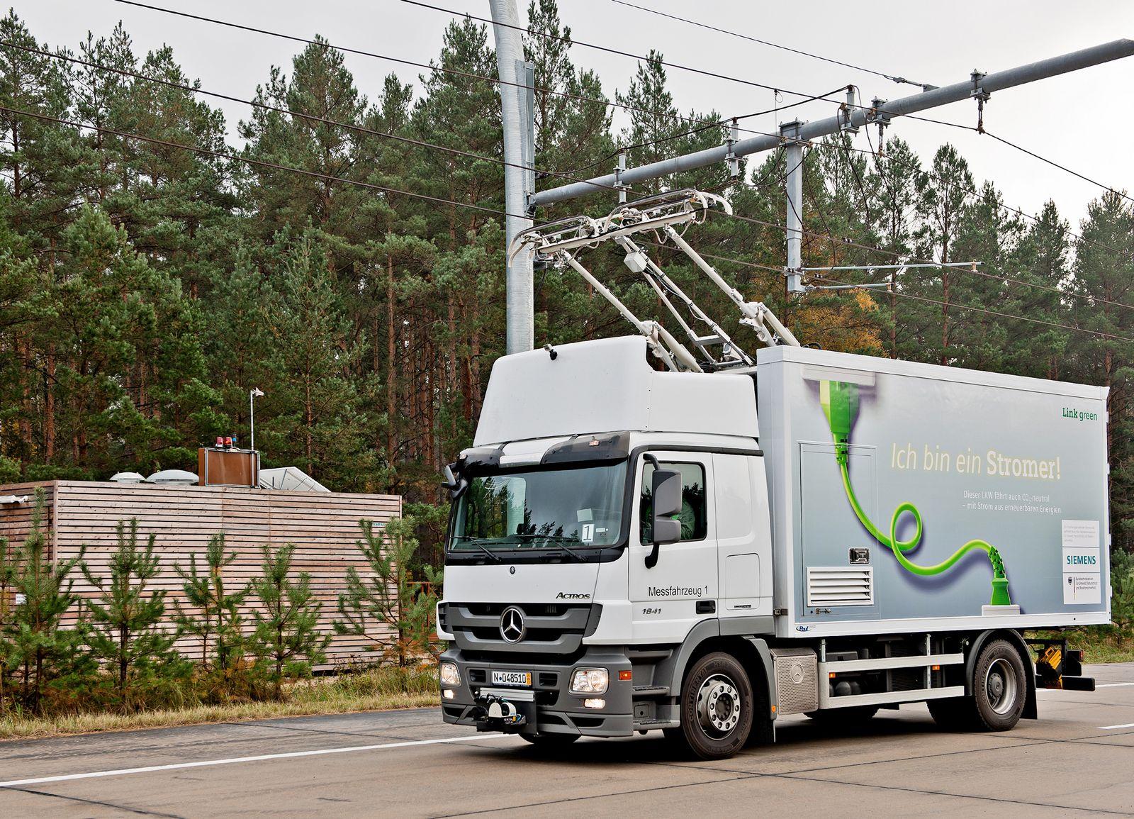 Siemens / Lkw mit Oberleitung / elektrische Autobahn in USA