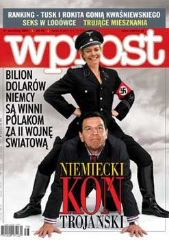 "Erika Steinbach on the back of then-Chancellor Schröder, as depicted by a Polish magazine: ""If she didn't exist, we'd have to invent her."""