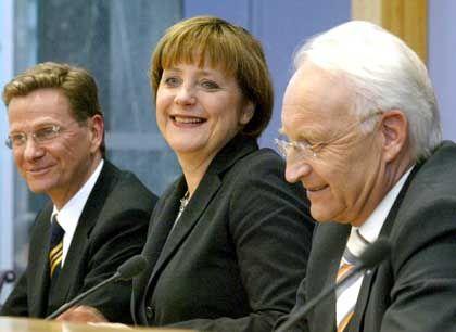 Schwarz-Gelbes Team Westerwelle, Merkel, Stoiber: Liebeshochzeit oder Zwangs-Ehe
