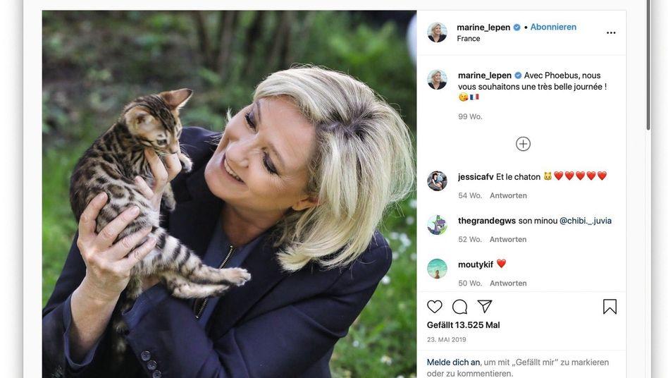 Screenshot von Le Pens Instagram-Account: Weicher, weiblicher, menschlicher