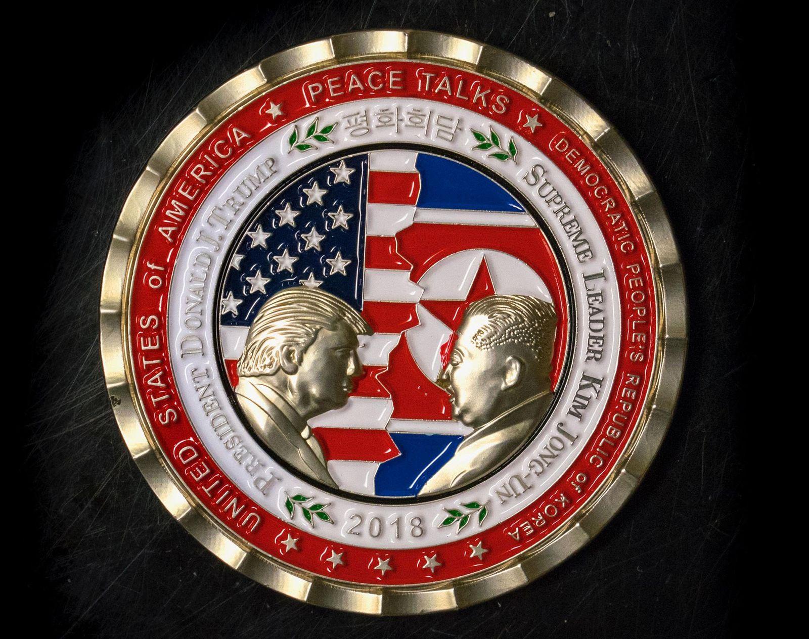 Münze Donald Trump Kim Jong Un