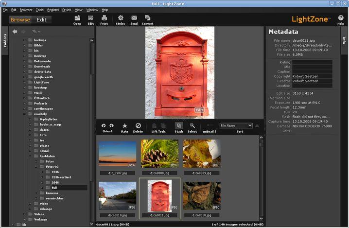 Fotosichtung und Bildbearbeitung sind in LightZone strikt getrennt, der Browser leistet nur das Allernotwendigste.