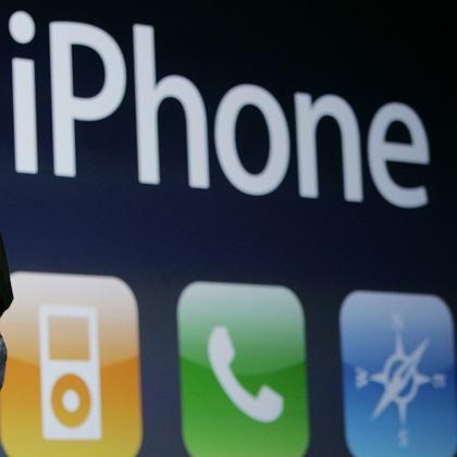iPhone-Schriftzug bei der Präsentation am Dienstag: Cisco reklamiert die Rechte für sich