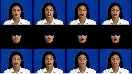 Sprachanimation am MIT: Oben authentisches Videomaterial mit natürlichen Augen- und Kopfbewegungen einer Versuchsperson. Mitte: am Computer erzeugte Folge von Mundbewegungen. Unten: synthetischer Film  die virtuelle Frau spricht Worte, die sie im ursprünglichen Video nicht sagte.