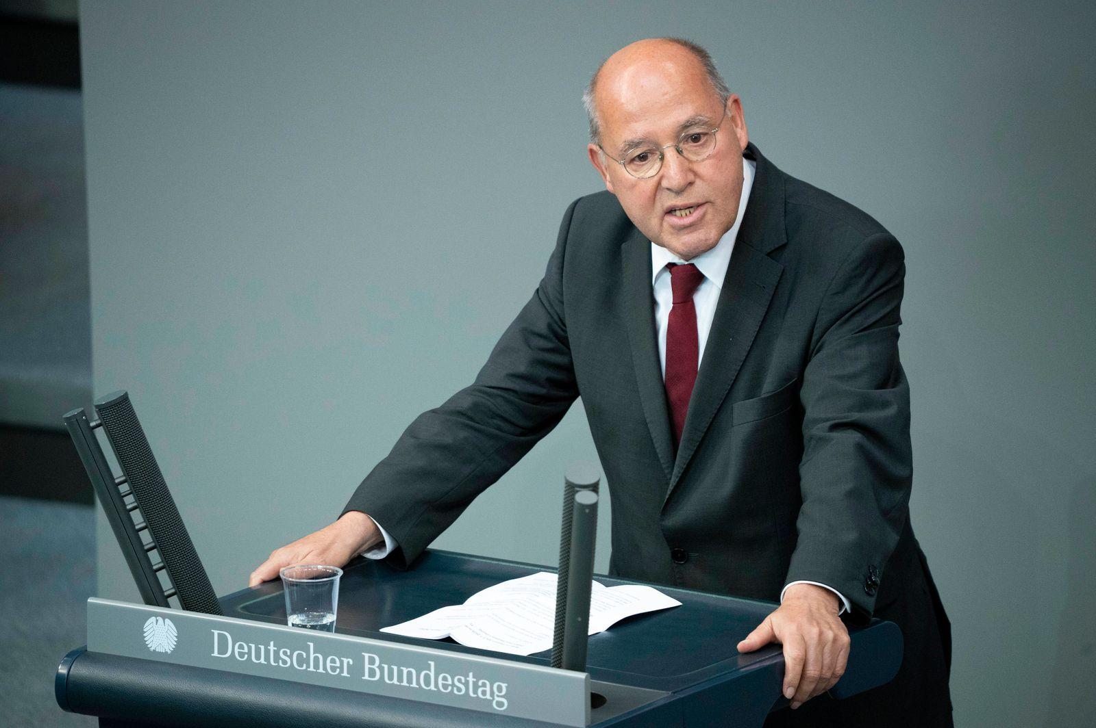 Gregor Gysi bei der 169. Sitzung des Deutschen Bundestages im Reichstagsgebäude. Berlin, 01.07.2020 *** Gregor Gysi at