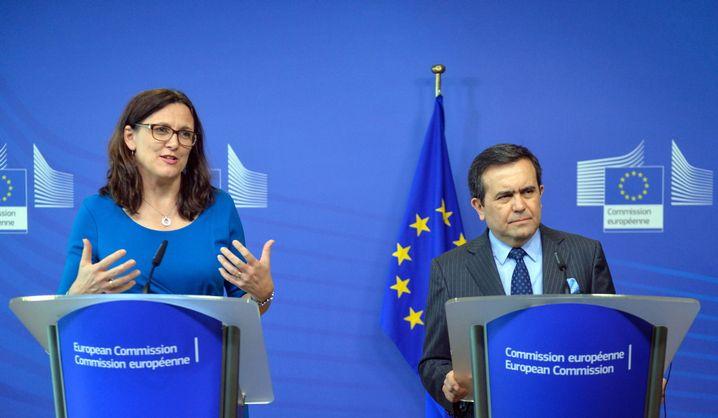 EU-Handelskommissarin Cecilia Malmström und Ildefonso Guajardo Villarreal, Mexikos Staatssekretär für Wirtschaft