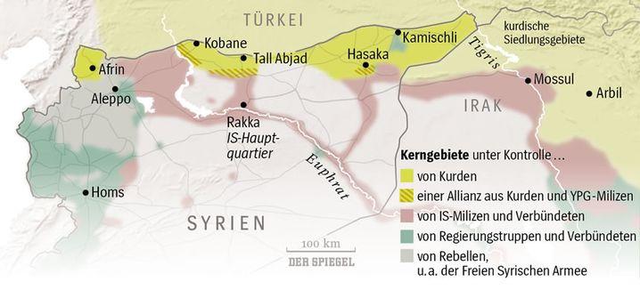 Vom IS eroberte Gebiete in Syrien und im Irak, Stand 1. November 2015