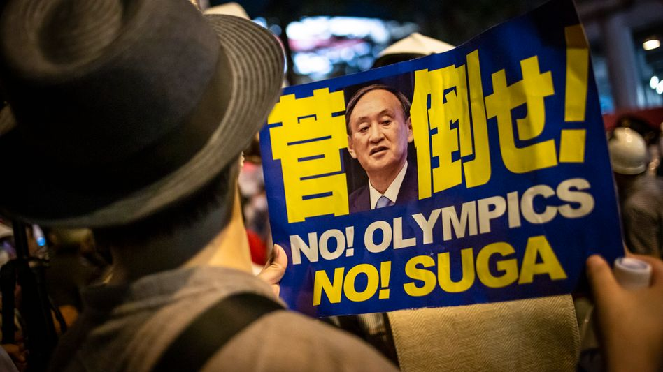 Protest gegen Olympia und gegen Premier Suga
