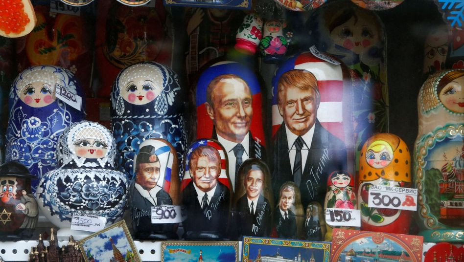 Auslage eines Geschenkeladens in Moskau