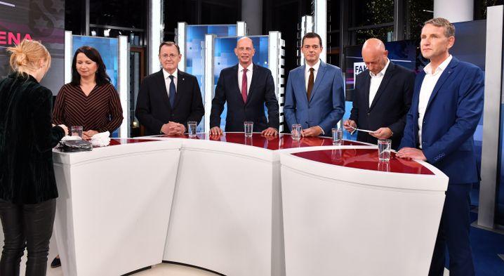 Thüringer Spitzenkandidaten Anja Siegesmund (2.v.l-r, Bündnis90/Die Grünen), Bodo Ramelow (Die Linke), Wolfgang Tiefensee (SPD), Mike Mohring (CDU), Thomas Kemmerich (FDP) und Björn Höcke (AfD)