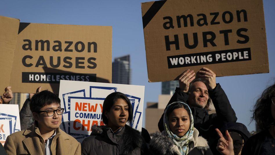 Protest gegen Amazon in New York