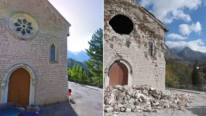Vor dem Beben und danach: Kirche in Ussita