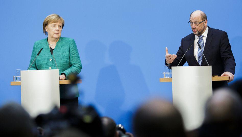 Geschäftsführende Kanzlerin Angela Merkel (CDU), Martin Schulz (SPD)