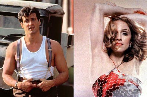 """Schlusslichter der Schauspielerzunft: Rambo-Darsteller Silvester Stallone und """"Don't cry for me""""-Madonna"""