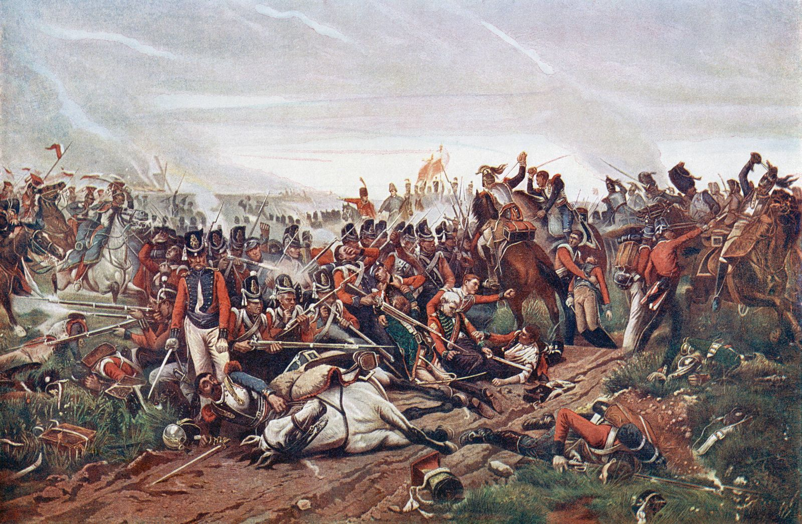 The Battle Of Waterloo Belgium 18 June 1815 French Cuirassiers Charging A British Square After T