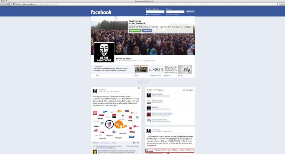 """Vermeintliche Anonymous-Seite bei Facebook: """"Bombt die Medien mit Kommentaren zu!"""""""