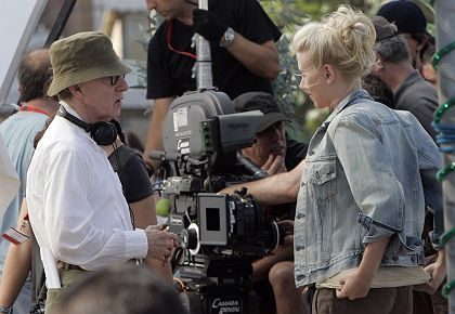 Woody Allen on the set of a film in Barcelona that stars his new cinematic muse, Scarlett Johansson.