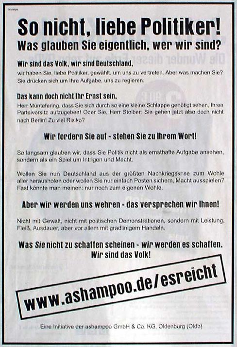 """Anzeige in der """"FAZ"""": """"So nicht, liebe Politiker!"""""""