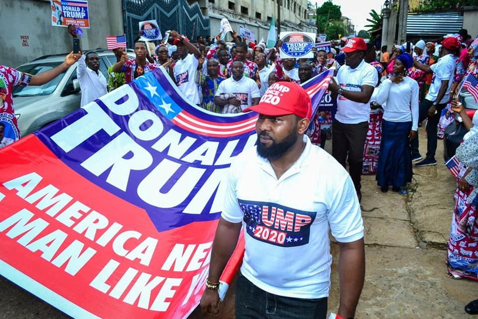 Members of the Living Christ Mission Inc are seen during a prayer rally in support of the U.S. President Donald Trump in Imo state