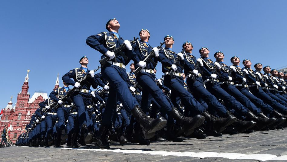 Russian troops marching on Red Square during the Victory Day military parade in May.